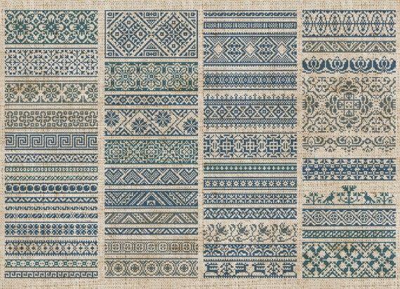 Decorative Borders - 50 Original Cross-Stitch Designs - Instant ...