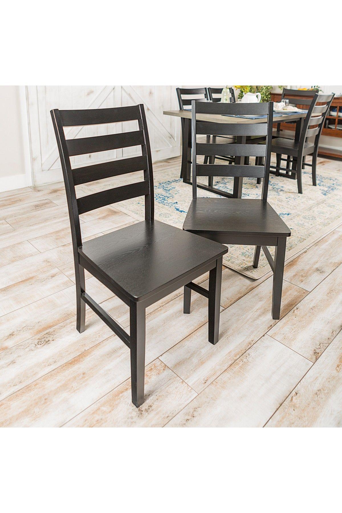 Walker Edison Furniture pany Wood Ladder Back Black Dining Chair