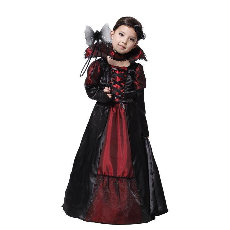Girls Vampire Princess Costume Childs Halloween Dracula Fancy Dress Kids Outfit