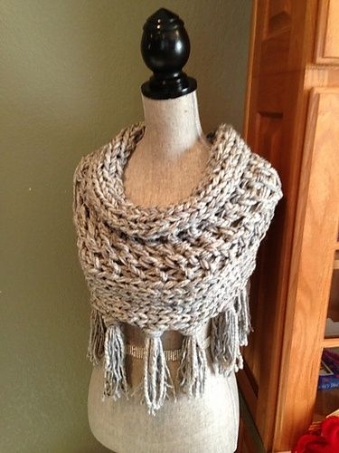 Ravelry Gray 3 Strand Cowl With Fringe Pattern By Louis Chicquette
