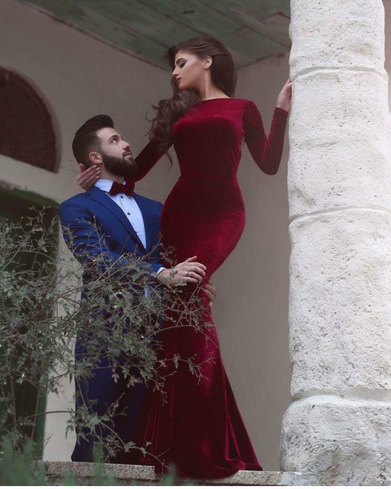 Long sleeves burgundy velvet formal occasion dress party prom