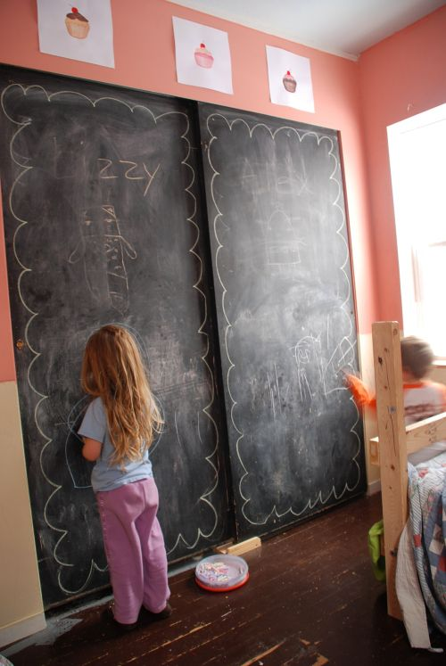 Chalk Board Closet Doors In The Kids Room Kids Playroom Playroom Design Kids Chalkboard