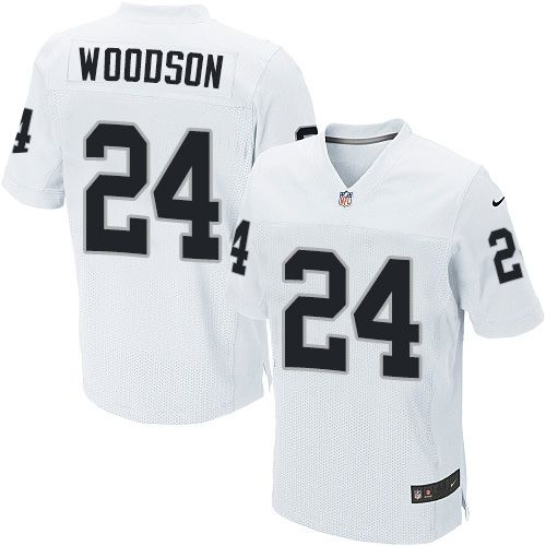 Charles Woodson Men's Elite White Jersey: Nike NFL Oakl