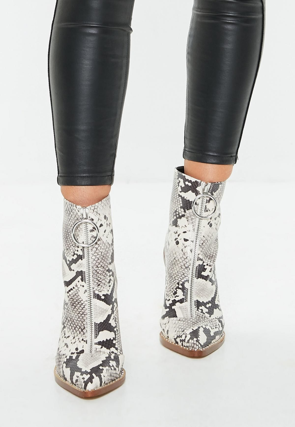 192dfd49402 Gray Snake Print Zip Front Ring Pull Boots in 2019 | • shoes ...