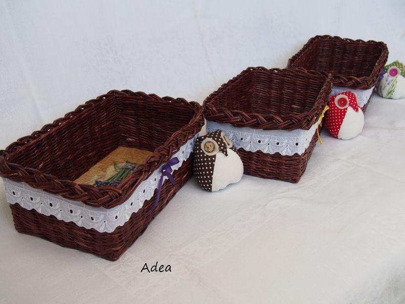 13bd7874e Dekoračné košíky so šitými sovičkami | Papierové pletenie | Wicker ...