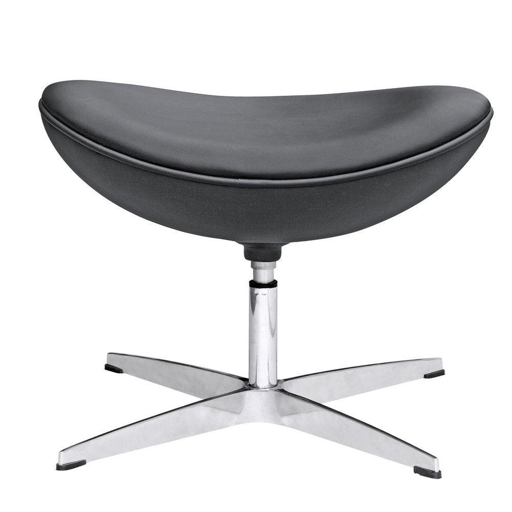 Arne Jacobsen Egg Style Chair Ottoman Leather Upholstery Black