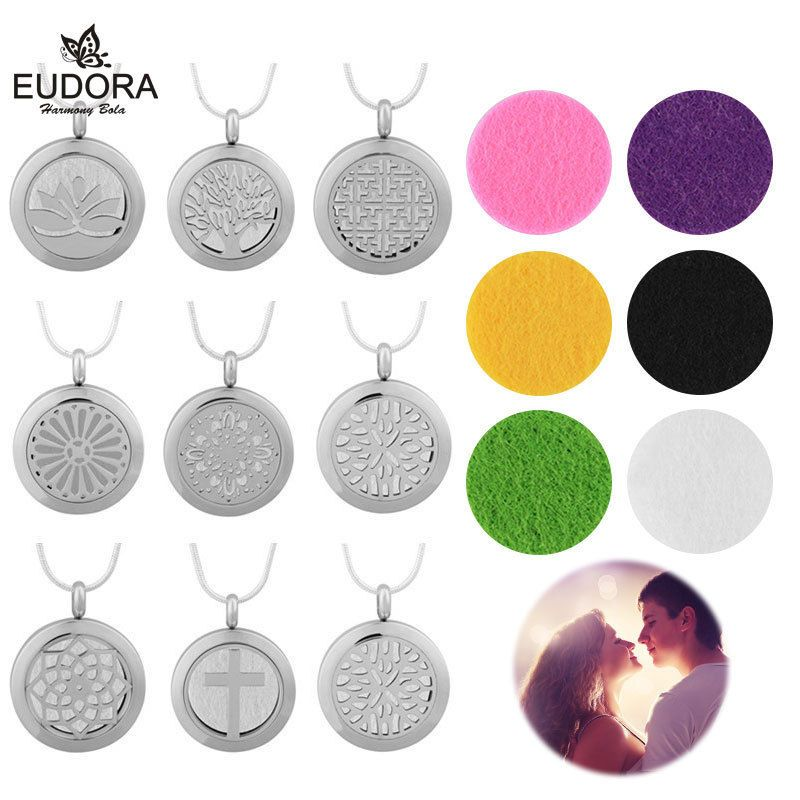 Ladys Aromatherapy Perfume Diffuser Necklace For Essential Oils Pompons Pendant