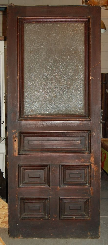 Vintage Pine 5 Panel 1 Lite Snowflake Glass Doorhomearchitectural