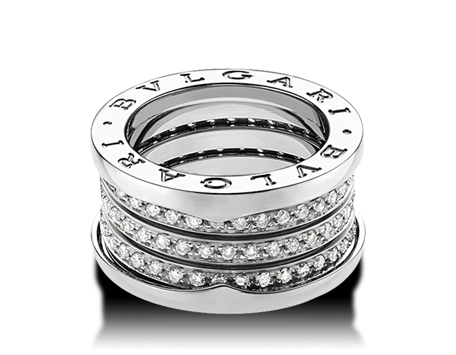 bulgari ring in white gold with pav diamonds bvlgari ring