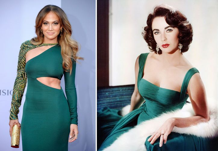 """21st-Century Style Icon: Jennifer Lopez, the New Elizabeth Taylor It's not just the exciting, high-profile romances that these two fashion icons have in common. They're both dripping in sexy, steamy glamour, know how to work the red carpet in designer evening gowns and lots of blingtastic """"rocks,"""" have a portfolio full of successful fragrances (admit it, you spritzed some White Diamonds or Glow on at some point), and boast the best nicknames in the biz: J.Lo and La Liz."""