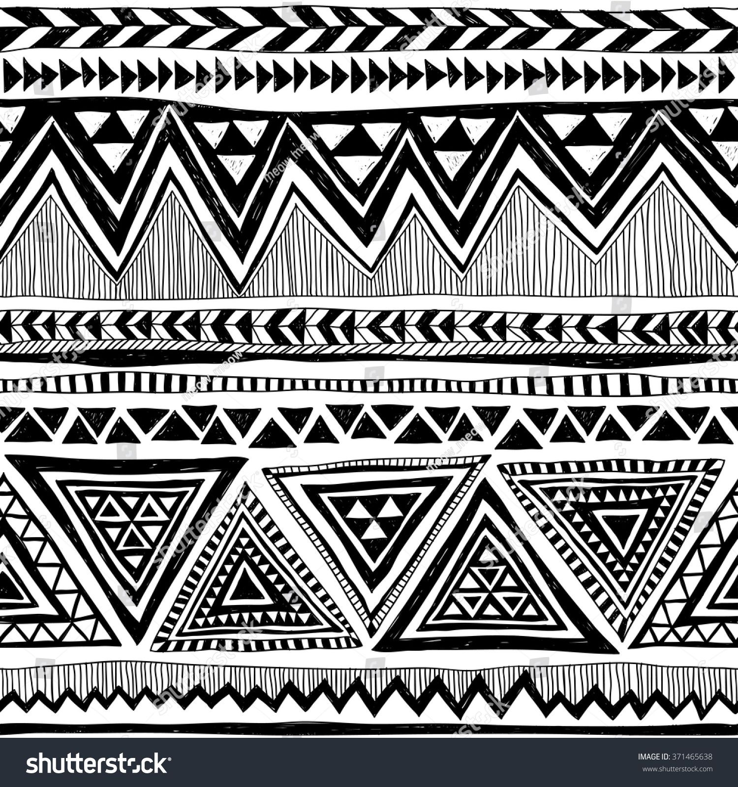 black and white tribal navajo vector seamless pattern with