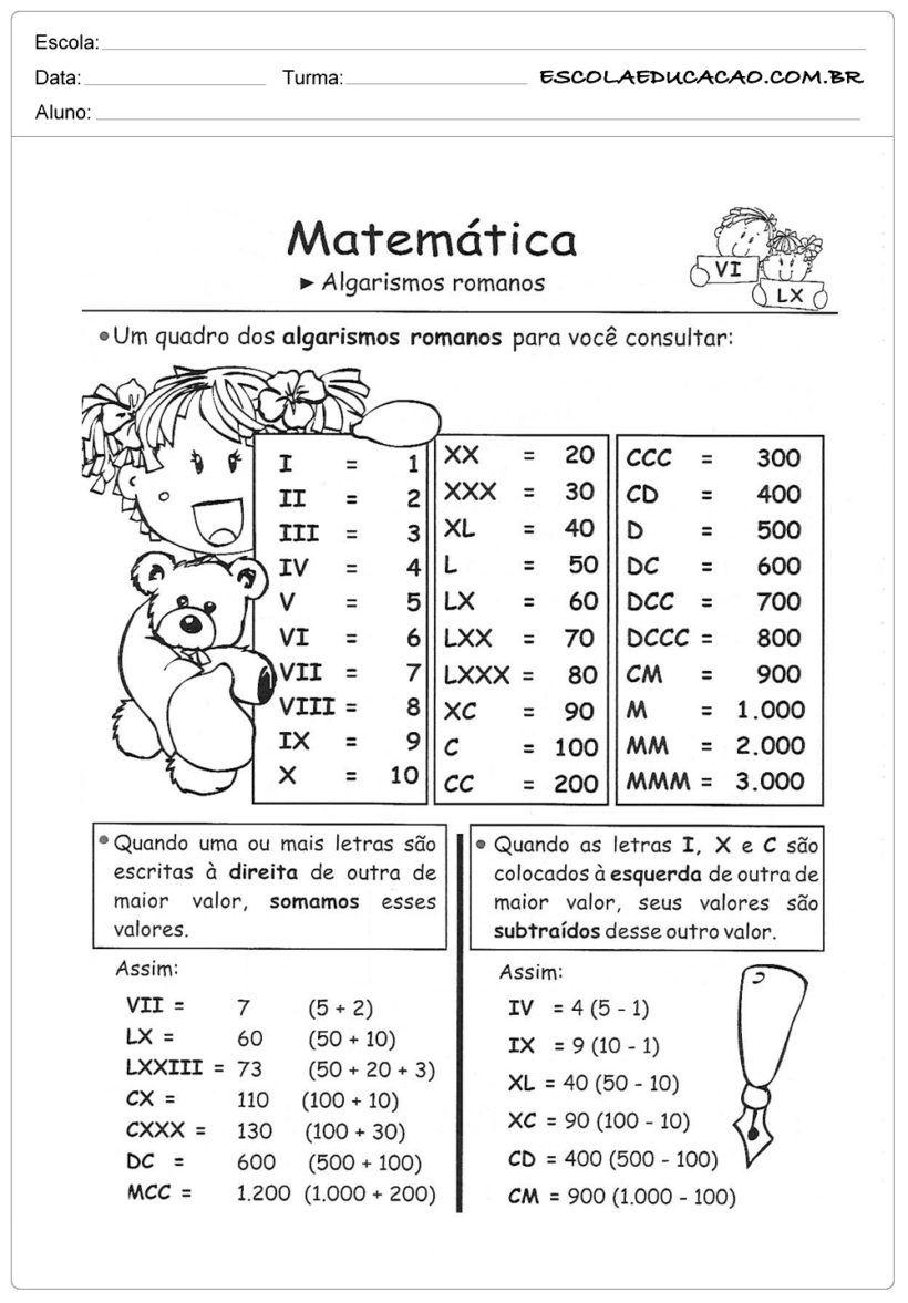 Atividade De Matematia Com Algarismo Romano Algarismos Romanos