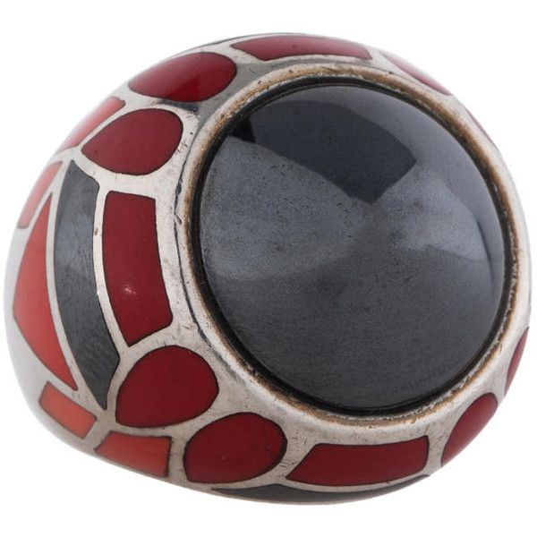 Pre-owned Stephen Webster Enameled Dome Ring ($295) ❤ liked on Polyvore featuring jewelry, rings and silver