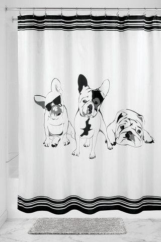 Interdesign Shower Curtain French Bulldog Fabric Shower
