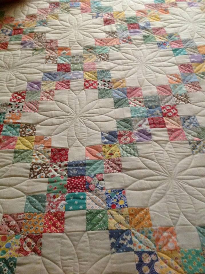 Love The Quilting On This Irish Chain Quilt Happily Scrappily Made By Leona Dentz Pattern Found In Adventures With Leaders Enders