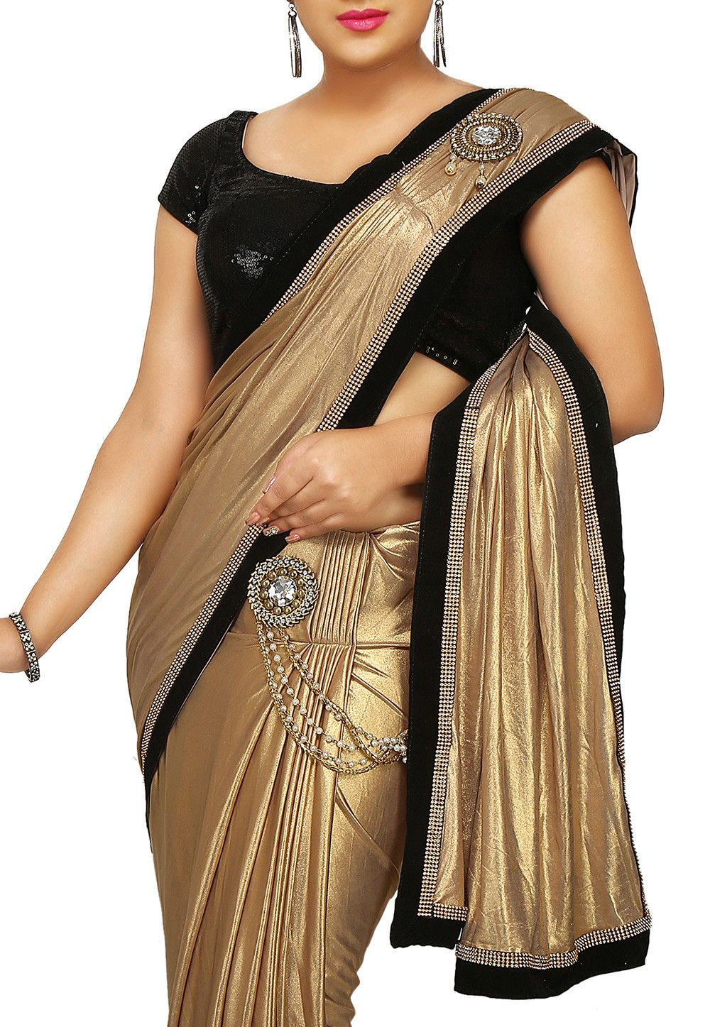 17bc5cb932e8c7 Shimmer Lycra Saree in Golden Adorned with Stone, Beads, Dangle and Patch  Border Work Available with an Unstitched Velvet Blouse in Black Free  Services: ...