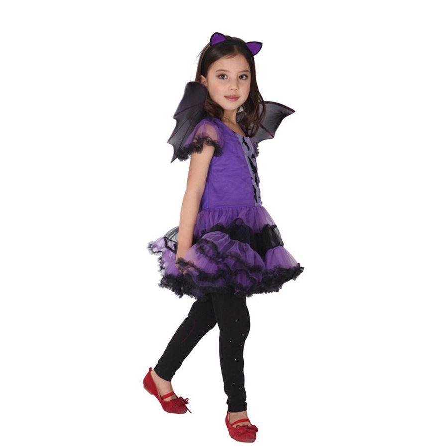 73d4c2698 Kids Halloween Girls Fancy Dress Up Costume Outfits Ballerina Bat ...
