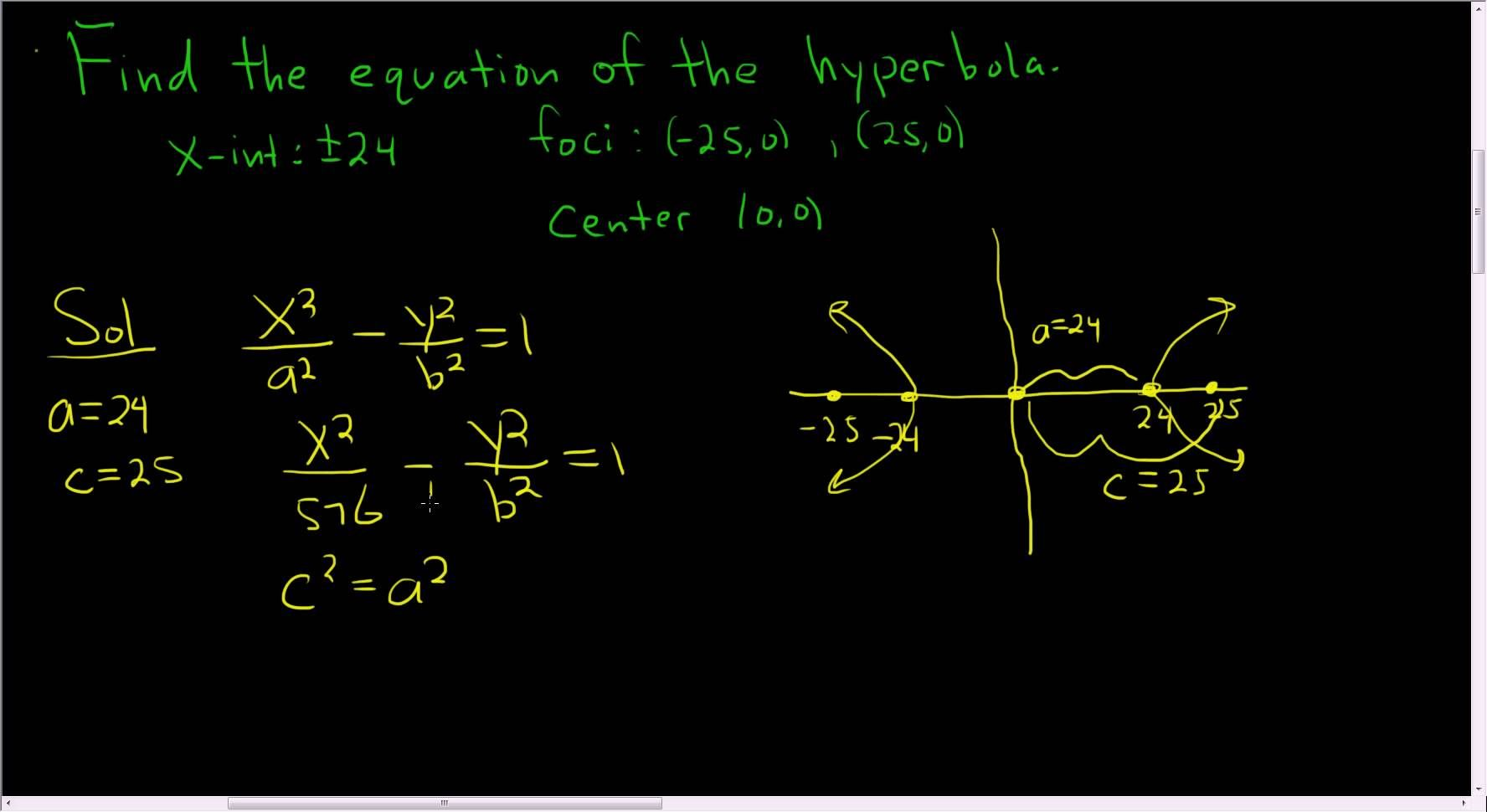 Finding The Equation Of A Hyperbola Example 1