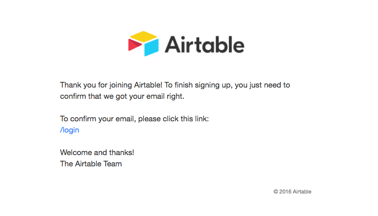Airtable Sent This Email With The Subject Line Please Confirm