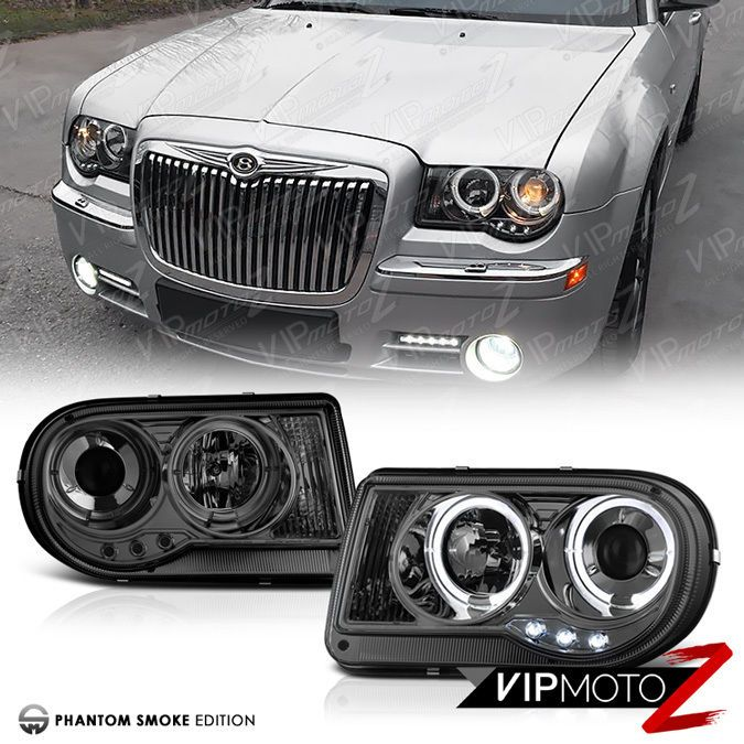 05 10 Chrysler 300c Srt8 V8 Titanium Smoke Halo Led Projector Headlight Lamp L R Vipmotoz Projector Headlights Chrysler Led Halos