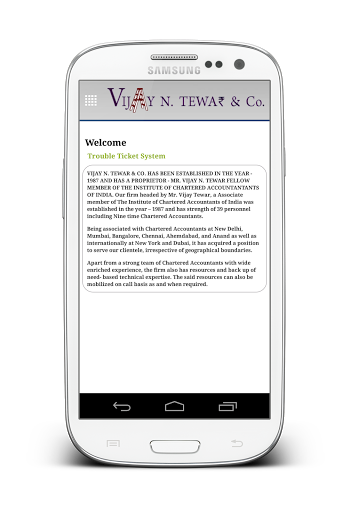 Vijay N. Tewar app is a kind of mobile application which stands unique because of its ticketing system, which automates the process of going to the door steps, physically! Now send the documents at your leisure no need to step in physically.<br>VIJAY N. TEWAR & CO. HAS BEEN ESTABLISHED IN THE YEAR - 1987 AND HAS A PROPRIETOR - MR. VIJAY N. TEWAR FELLOW MEMBER OF THE INSTITUTE OF CHARTERED ACCOUNTANTANTS OF INDIA. Our firm headed by Mr. Vijay Tewar, a Associate member of The Institute of…