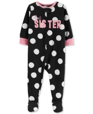 35223fdd33e1 Carter s Baby Girls Dot-Print Sister Footed Pajamas - Black 24 ...