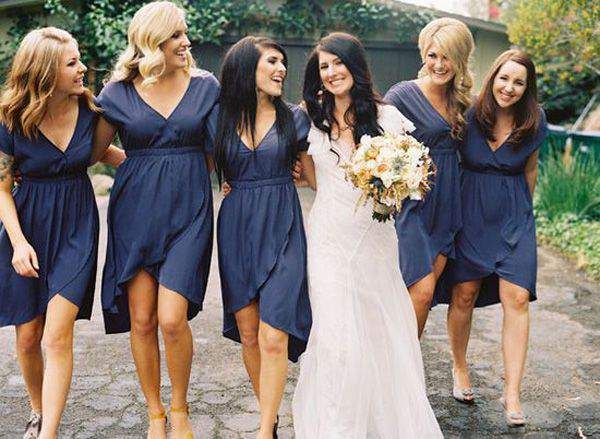 Navy Blue Wrap Bridesmaid Dresses My Wedding Ideas