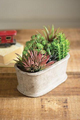 Kalalou Artificial Succulent Garden With Oval Pot - Add a lively accent to your decor with this artificial succulent garden. Life-like and compact, this lovely arrangement in its natural fiber pot will be a Springy mix for your home all year round.