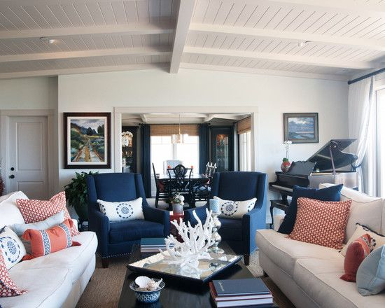 Pin By Aaron Johnson On Interior Decorating Ideas Navy Living Rooms Living Room Orange Blue Living Room Inspiration