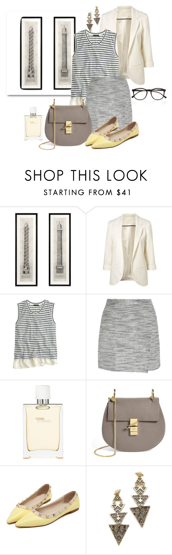 Love Grey by mstela on Polyvore featuring moda, J.Crew, Chloé, House of Harlow 1960, Illesteva and Hermès