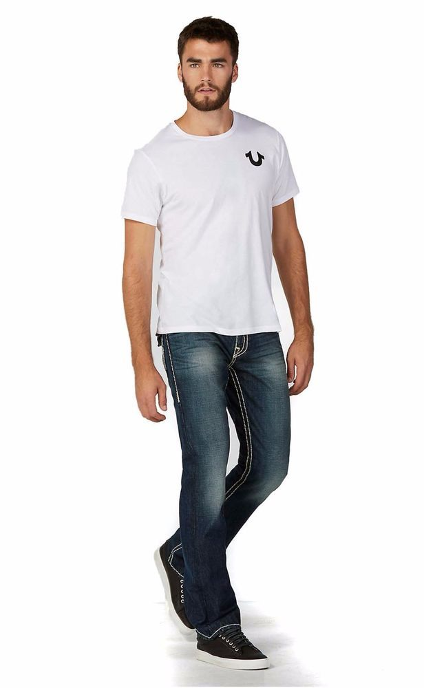 True Religion Mens Straight with Flaps Jeans Size 38 Super T in Serene NWT $337…
