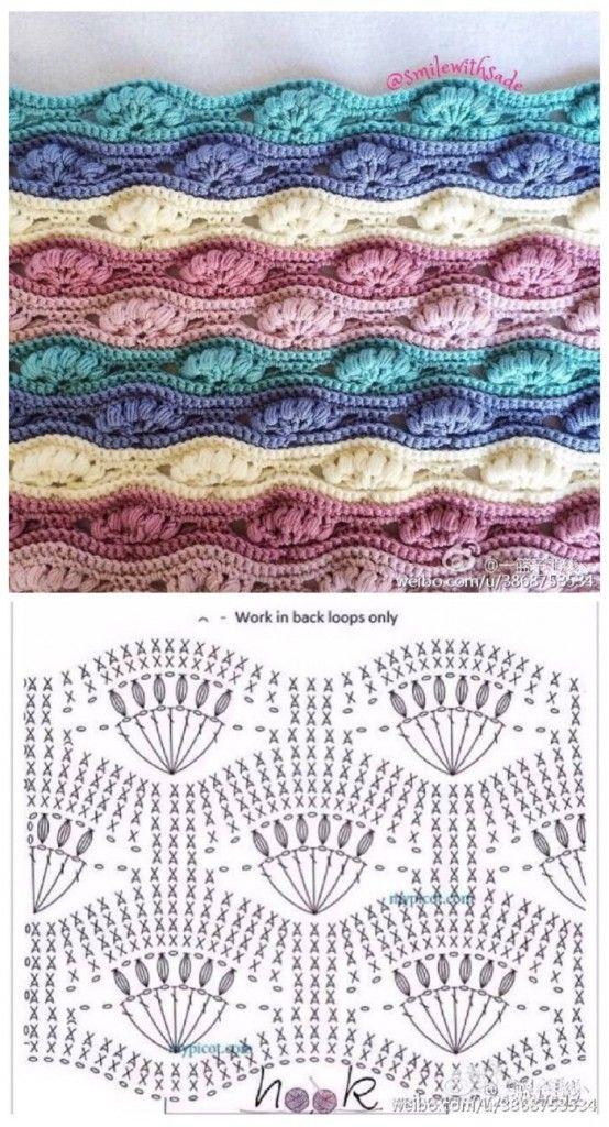 Bobbled Fan Crochet Stitch | Tambormusturi | Pinterest | Frazada ...