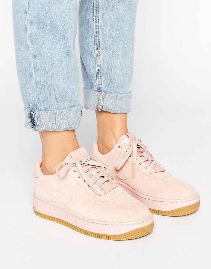 Nike Air Force 1 Upstep Premium Trainers In Pink Suede