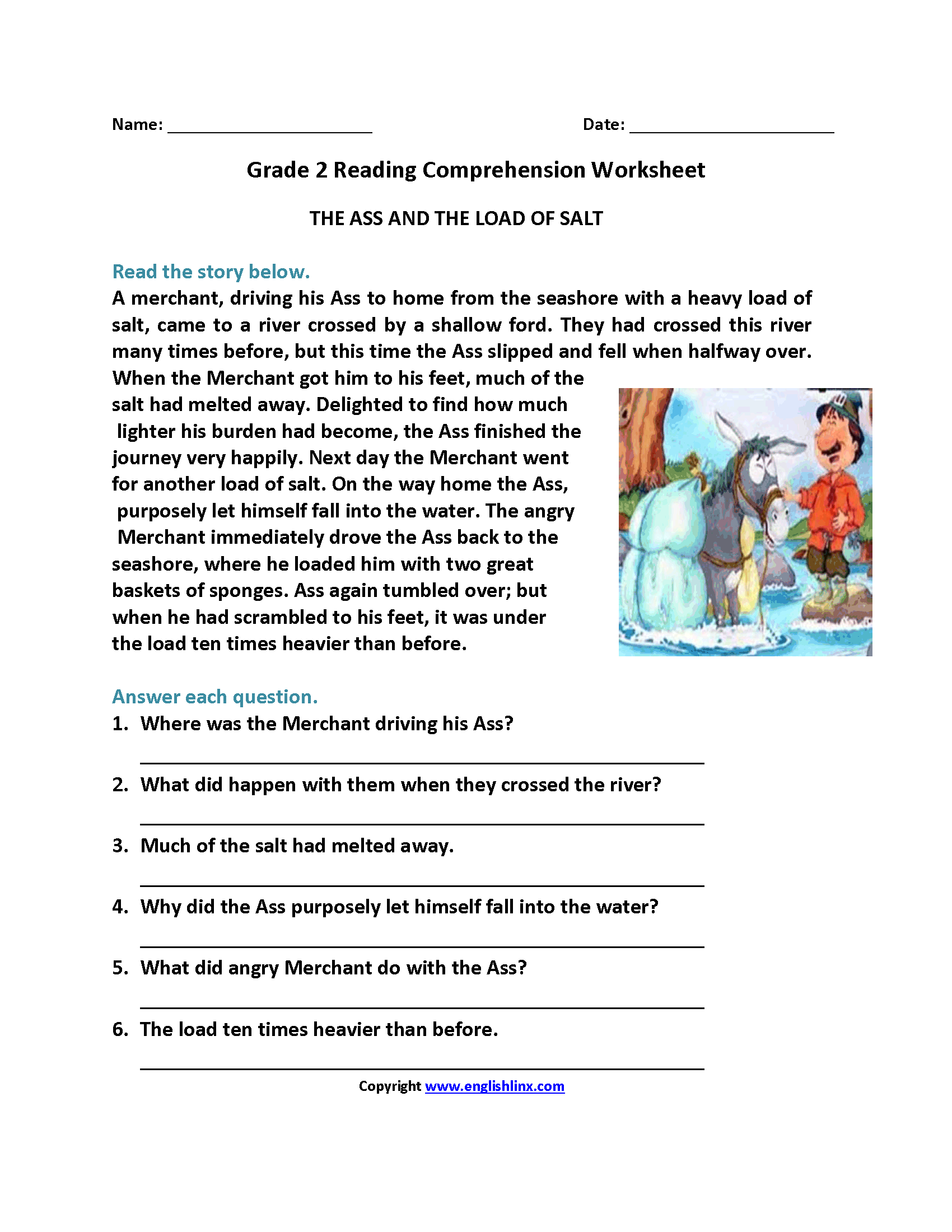 Worksheets Comprehension Worksheets Grade 2 ass and load of salt second grade reading worksheets worksheets