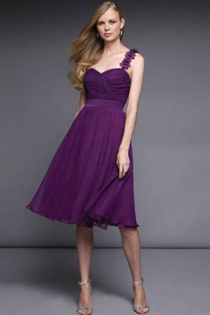 Knee Length Romantica Purple Bridesmaid Dresses For Girls | Lupus ...