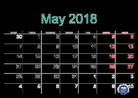 may 2018 calendar printable with holidays