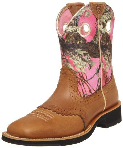 Ariat Women's Fatbaby Cowgirl Equestrian Boot,Cork Brown/ True Timber,6.5 M  US