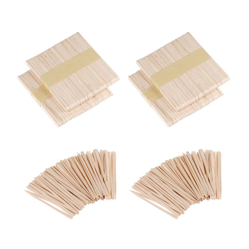 Mudder 400 Pieces Wax Applicator Sticks Wood Craft Sticks For Hair