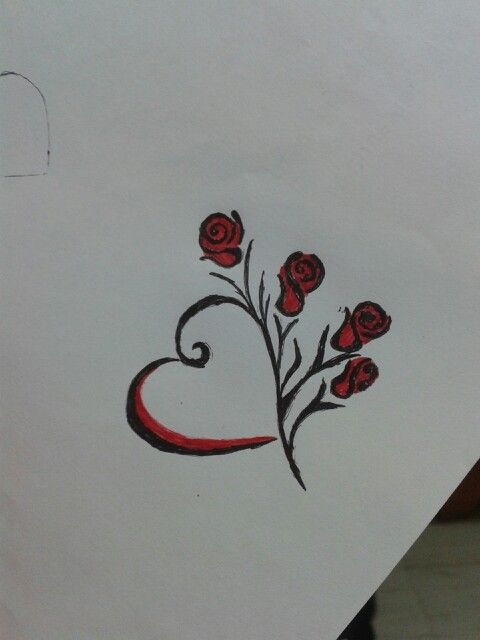 Simple Red And Black Heart And Roses Tattoo Rose Tattoos Rose