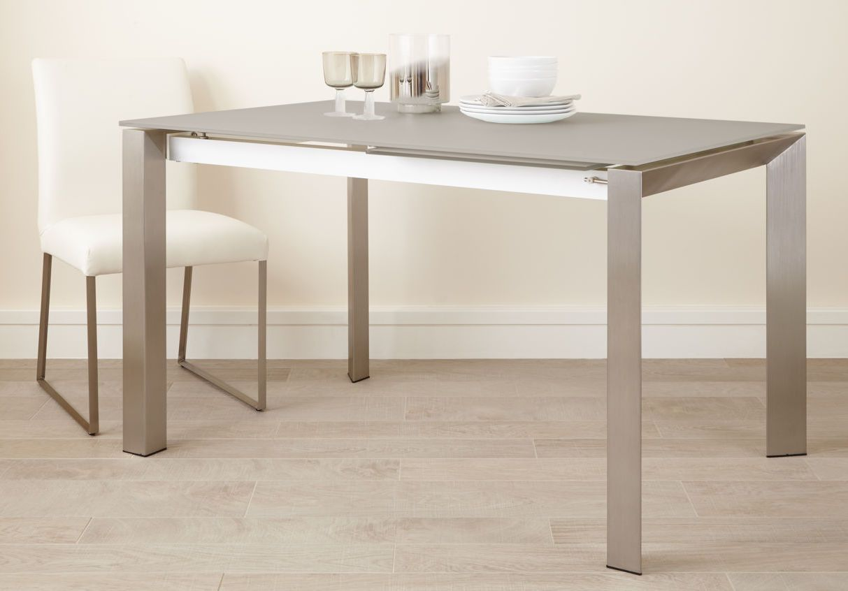 Charmant Eve Frosted Glass Extending Dining Table In Grey And Brushed From Danetti.
