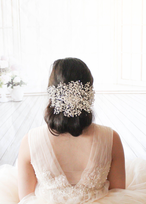 large wedding headpiece swarovski bridal hair vine statement