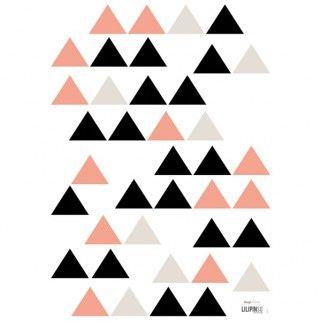 Stickers triangles rose/noir pour déco chambre bébé