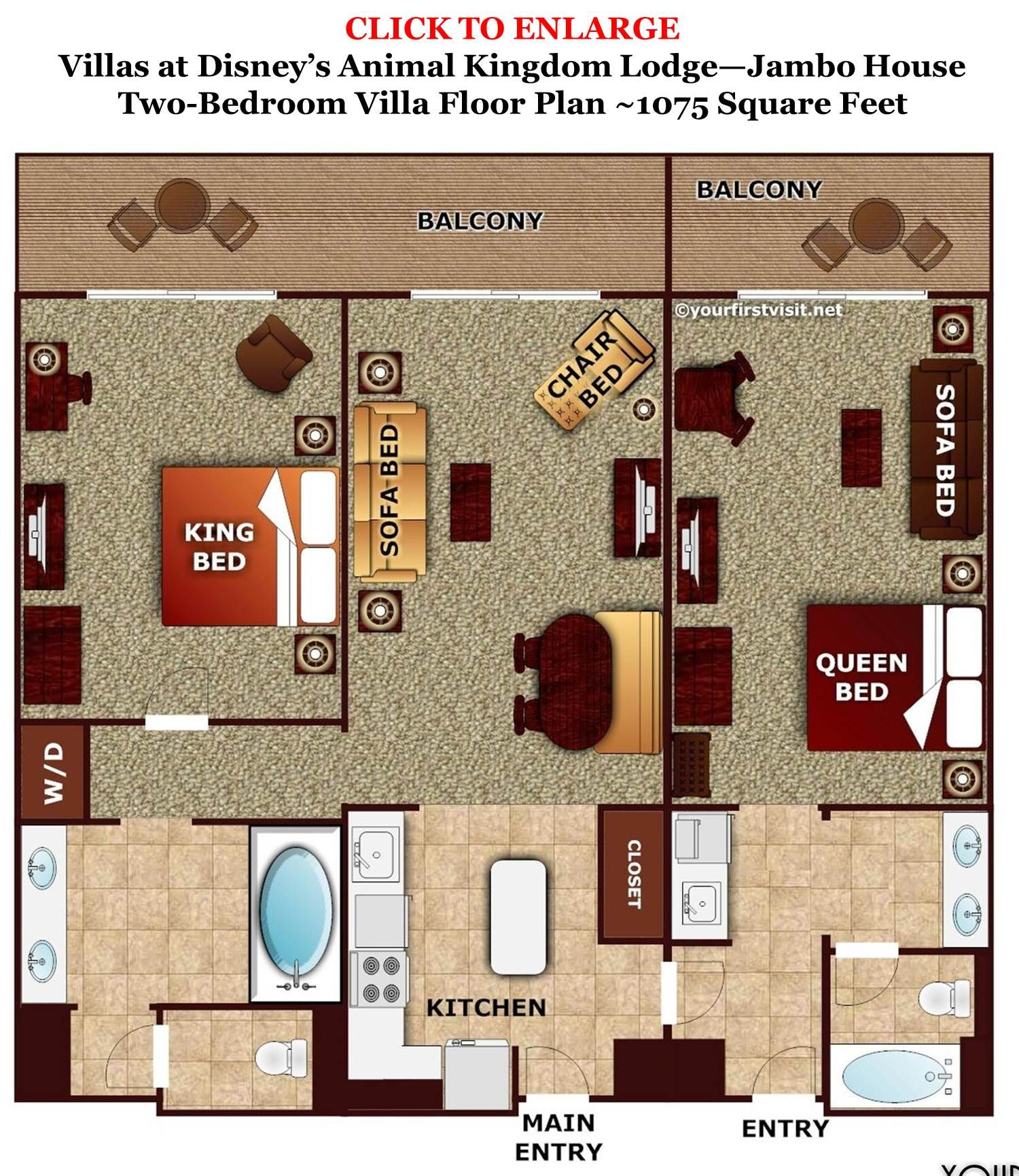 Animal Kingdom Jambo House 2 Bedroom Villa Layout Two Floor Plan Villas From Yourfirstvisit