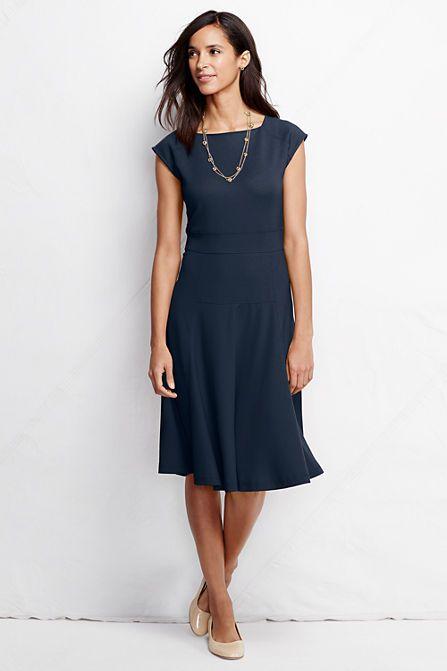 Womens Petite Short Sleeve Jersey Summer Dress - 10 -12 - Green Lands End JThZe0ijk