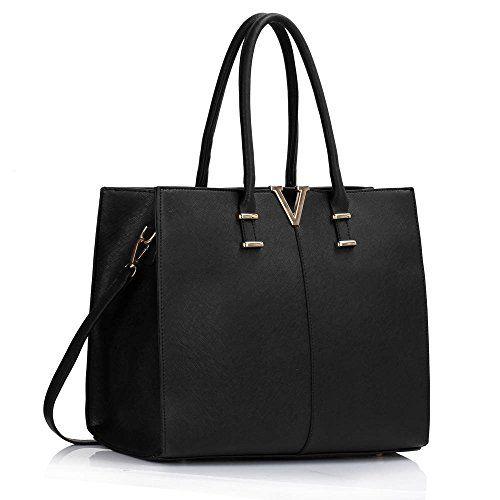 c185904fb24 From Leahward Patent Large Size Women s Tote Bags College Folder Handbag  Nice Great Shoulder Handbags 319 (black V)