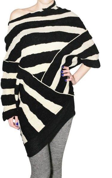 54bdbe62cef7fb Aviu Striped Knit Sweater in Black | Lyst | Knitwear | Striped knit ...