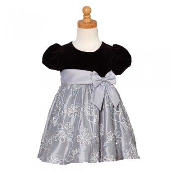 d887e6adf9b3 Rare Editions Silver Black Velvet Floral Christmas Dress Girls 12M ...