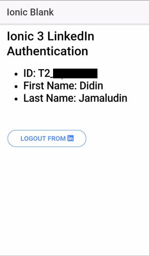 Ionic 3, Angular 4 and Cordova LinkedIn Authentication