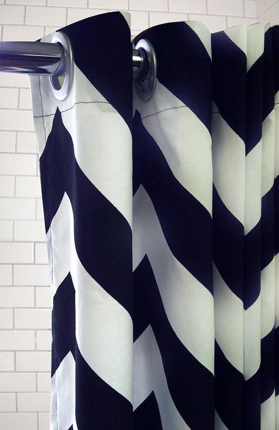 Amazing Large Grommet Shower Curtain Part - 11: Standard Tub Shower Curtain Extra Large Chevron By Maisonboutique, $105.00
