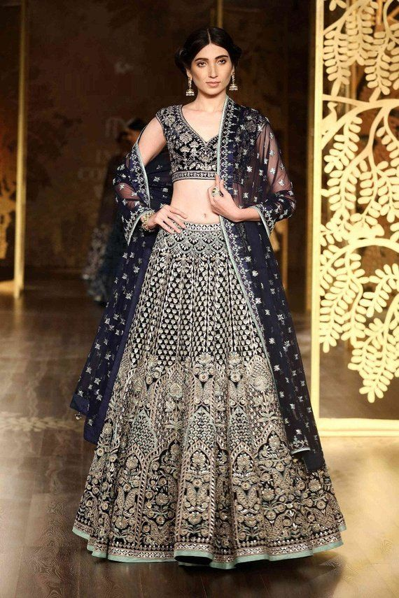 Indian Designer Lehenga Choli Wedding Carbon Blue Color And Heavy